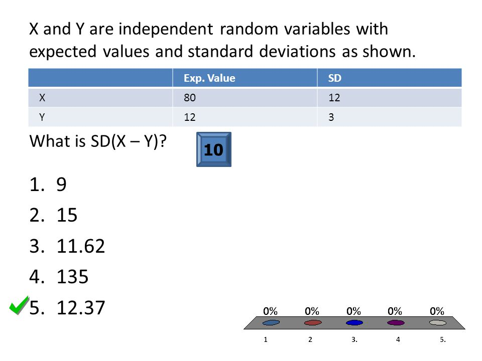X and Y are independent random variables with expected values and standard deviations as shown. What is SD(X – Y)