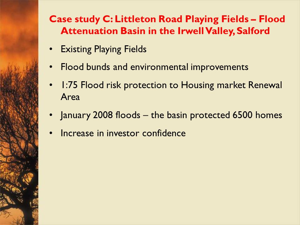 Case study C: Littleton Road Playing Fields – Flood Attenuation Basin in the Irwell Valley, Salford