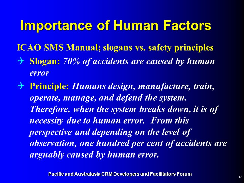 Importance of Human Factors
