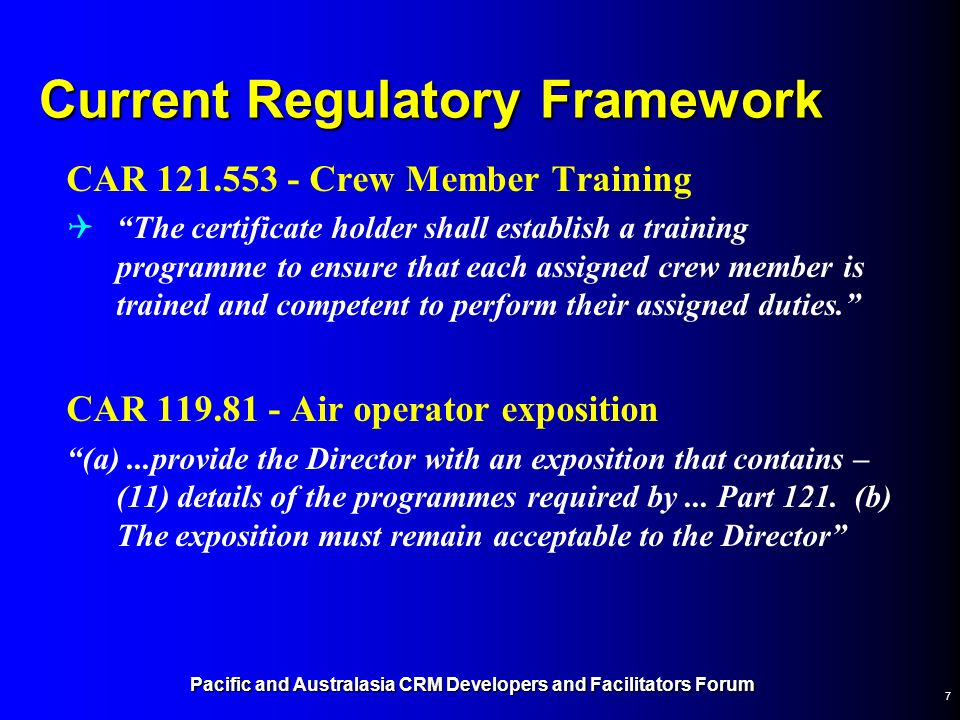 Current Regulatory Framework