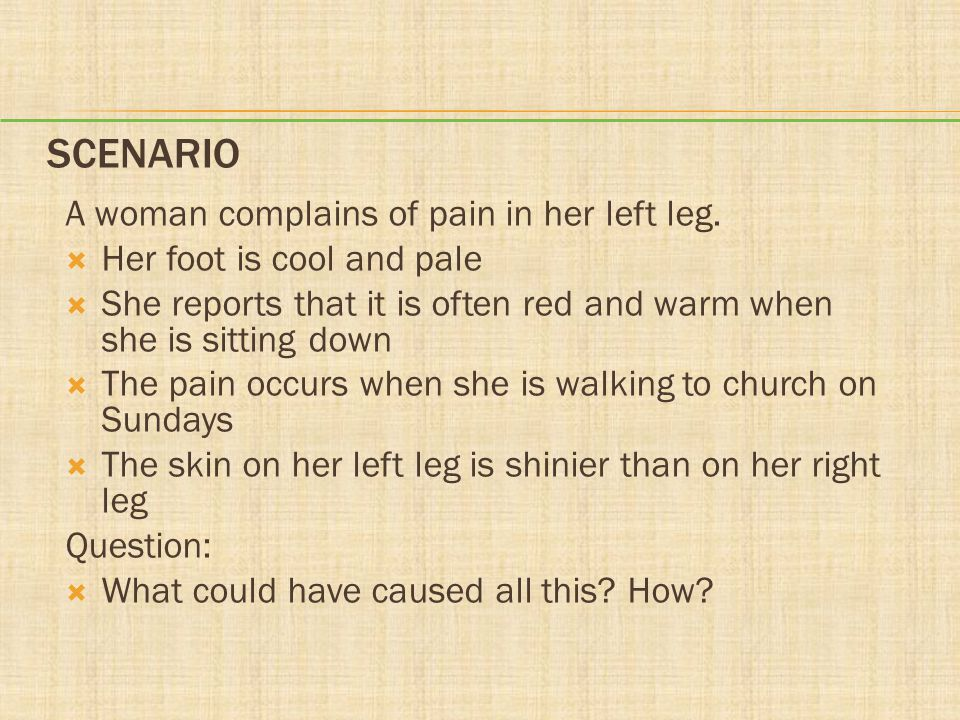 Scenario A woman complains of pain in her left leg.