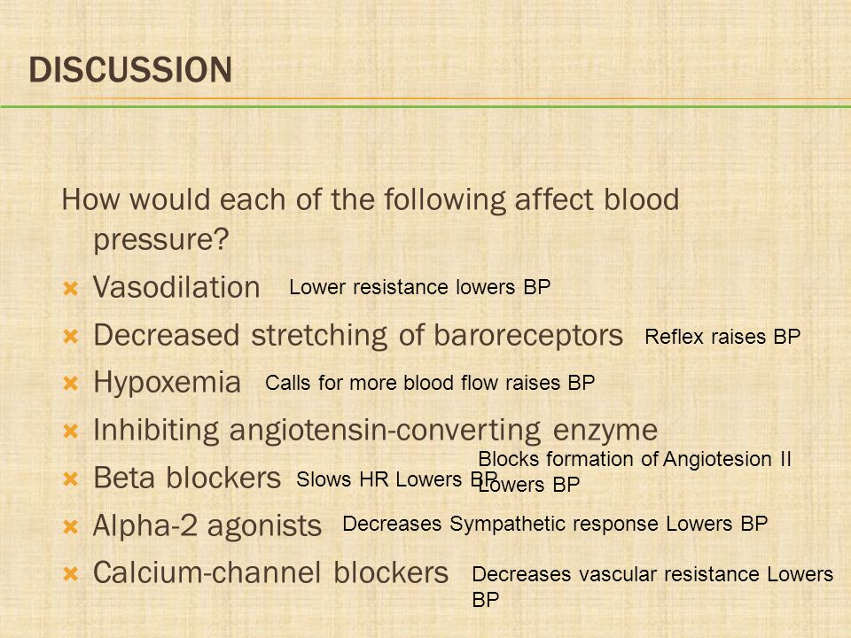 Discussion How would each of the following affect blood pressure