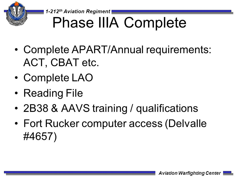 Phase IIIA Complete Complete APART/Annual requirements: ACT, CBAT etc.