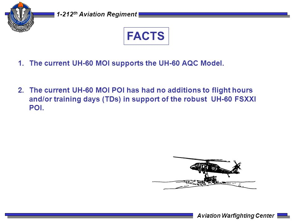 FACTS The current UH-60 MOI supports the UH-60 AQC Model.