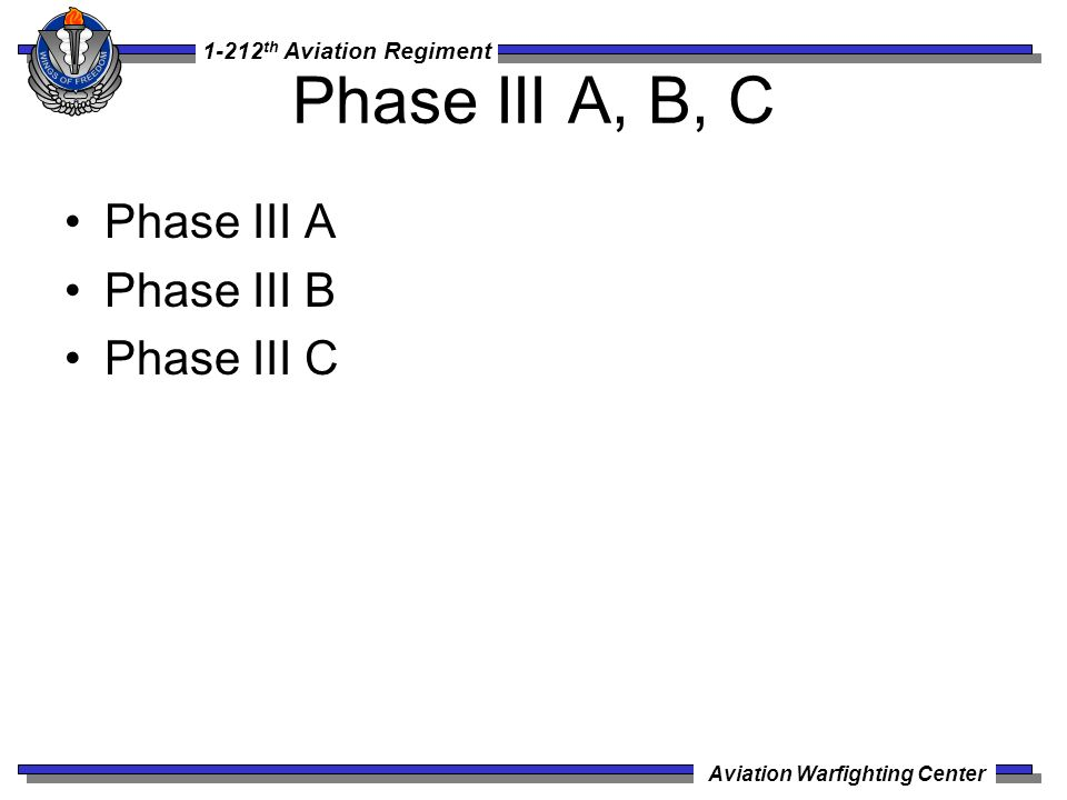Phase III A, B, C Phase III A Phase III B Phase III C
