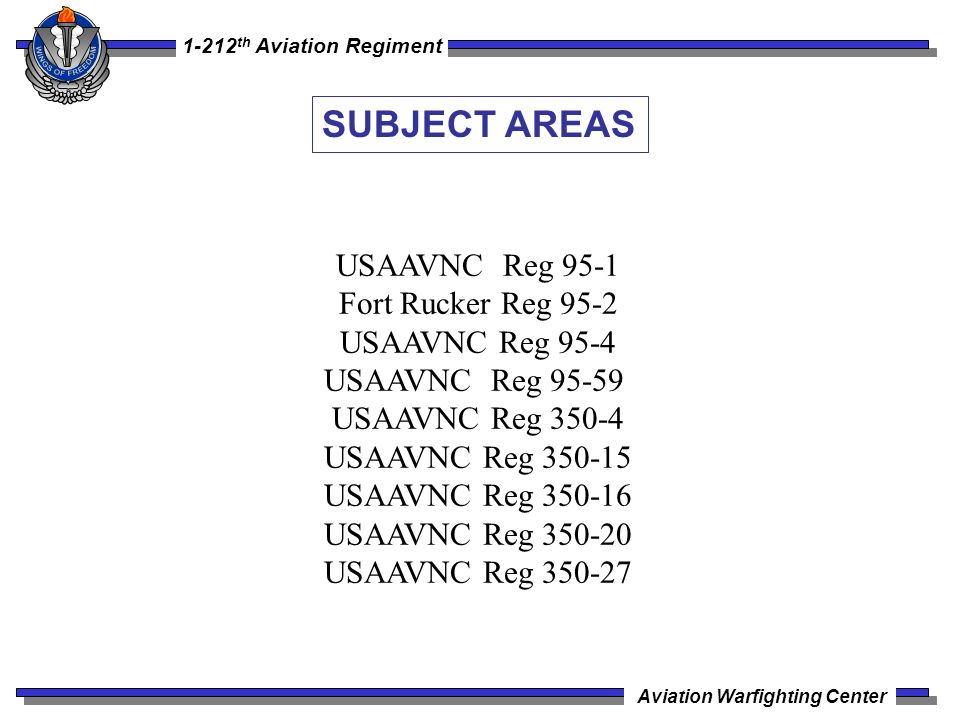 SUBJECT AREAS USAAVNC Reg 95-1 Fort Rucker Reg 95-2 USAAVNC Reg 95-4