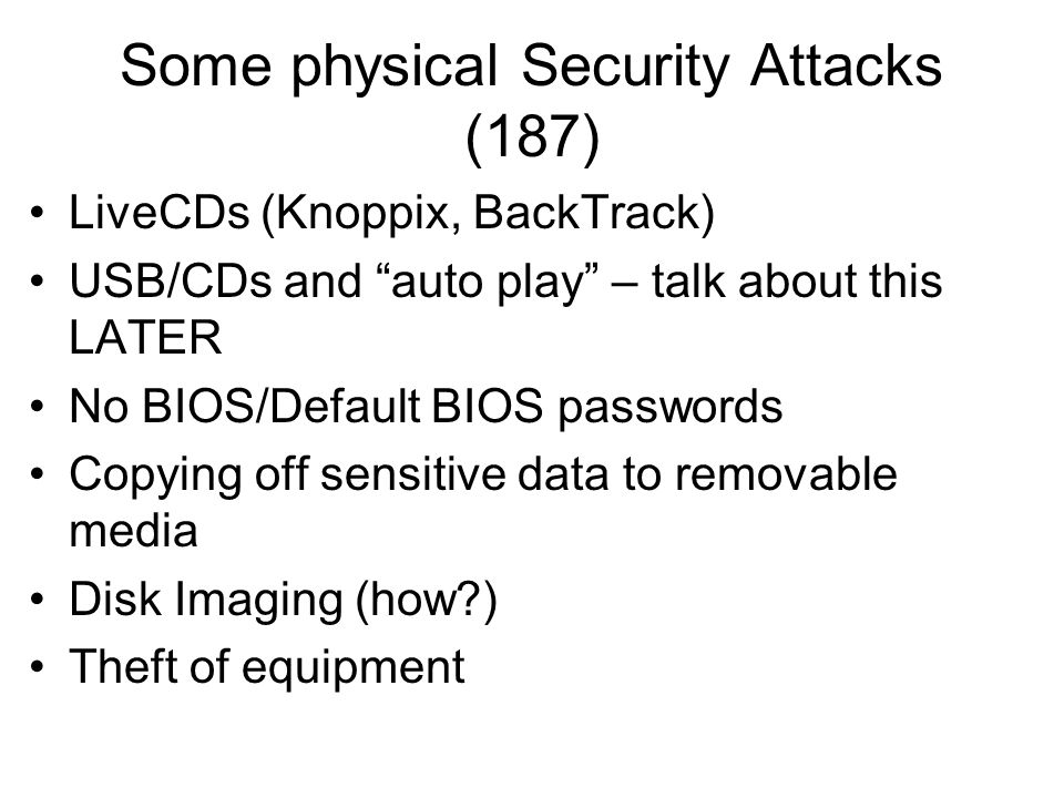Some physical Security Attacks (187)