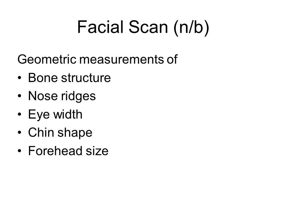 Facial Scan (n/b) Geometric measurements of Bone structure Nose ridges