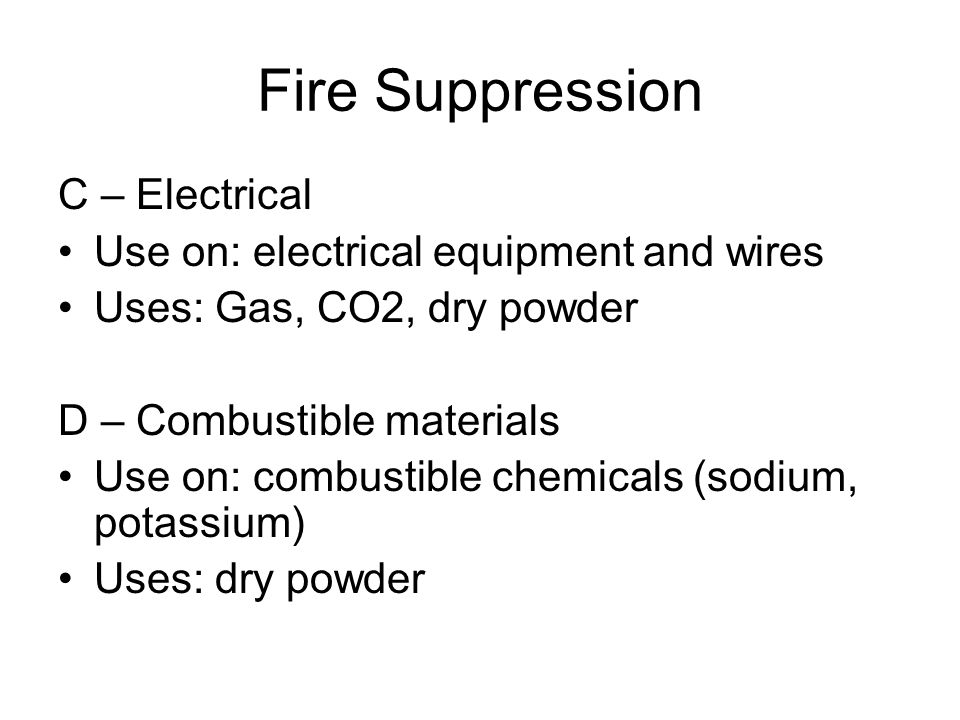 Fire Suppression C – Electrical Use on: electrical equipment and wires