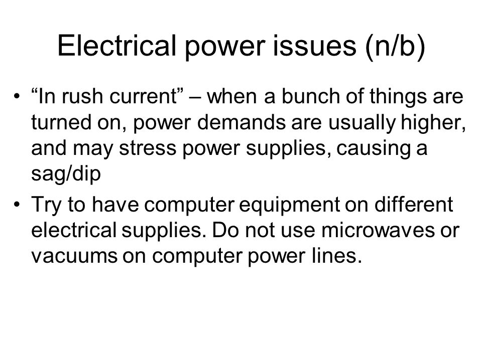 Electrical power issues (n/b)