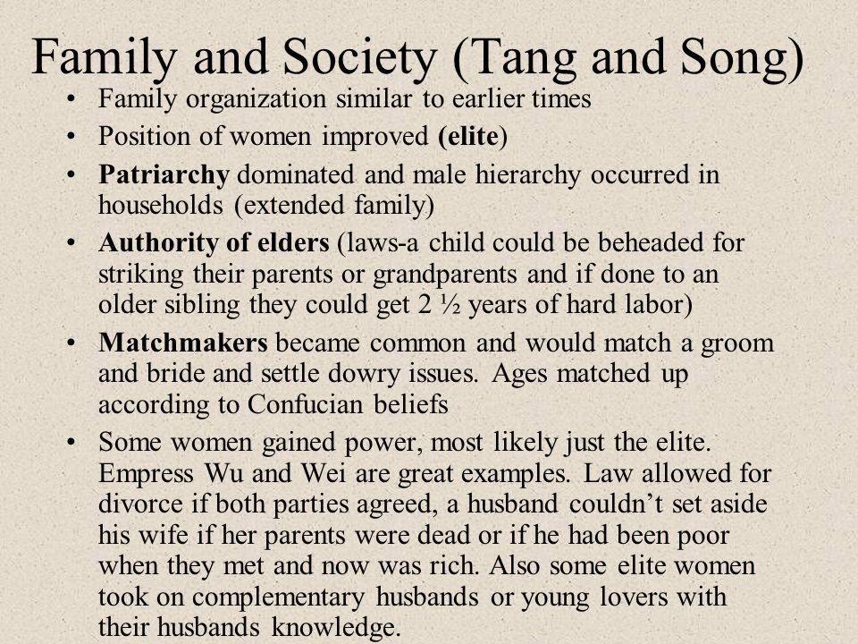 Family and Society (Tang and Song)