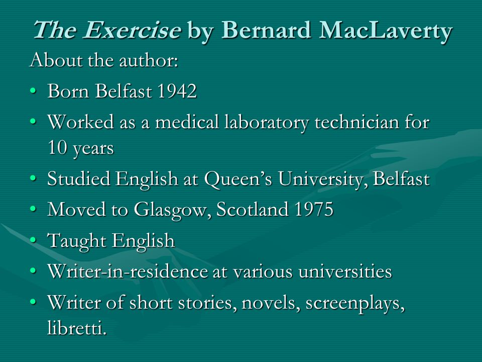 more than just the disease bernard maclaverty What genre is just the way you are what genre is more than just the disease by bernard maclaverty just you and i should go to the conference.