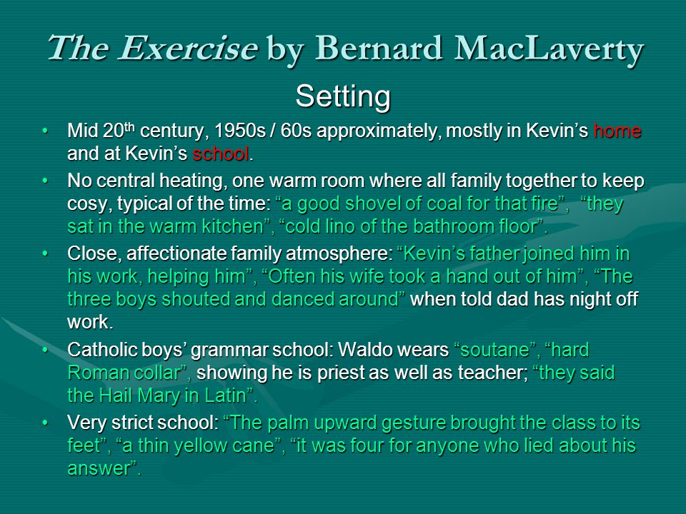 The Exercise by Bernard MacLaverty