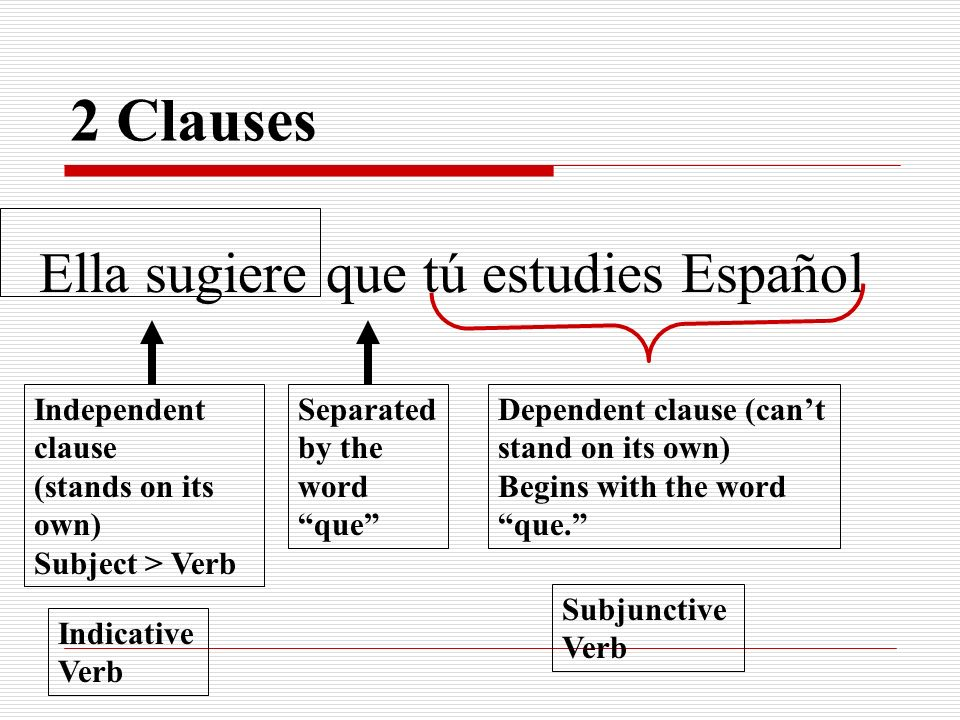 2 Clauses Ella sugiere que tú estudies Español