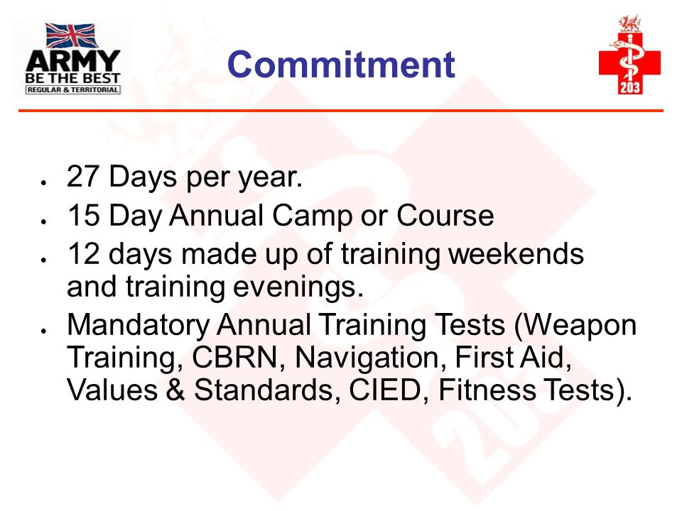 Commitment 27 Days per year. 15 Day Annual Camp or Course
