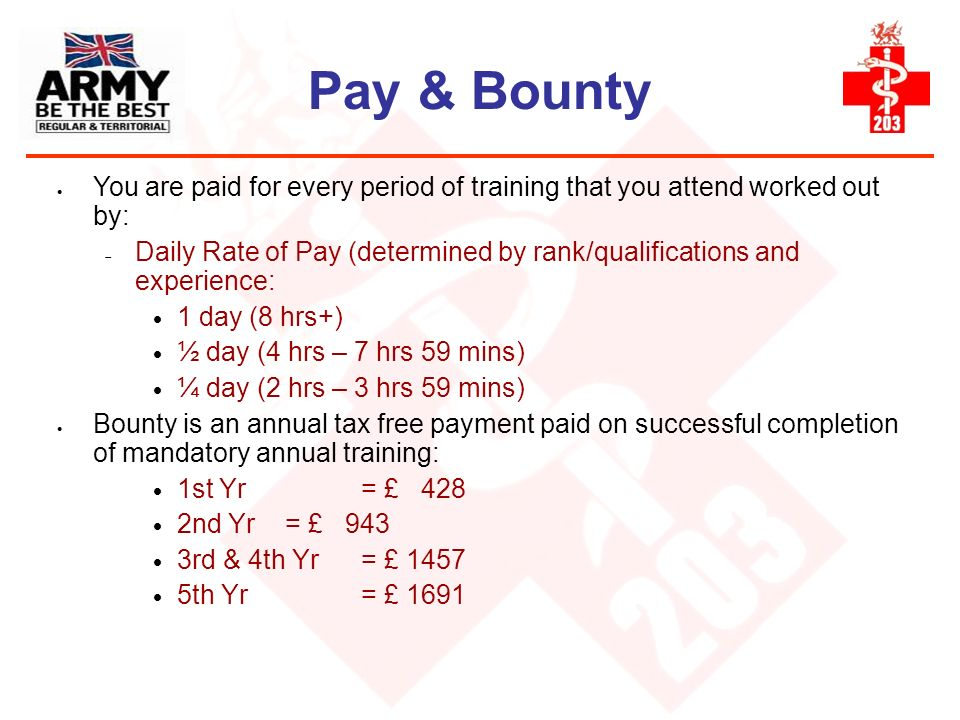 Pay & Bounty You are paid for every period of training that you attend worked out by: