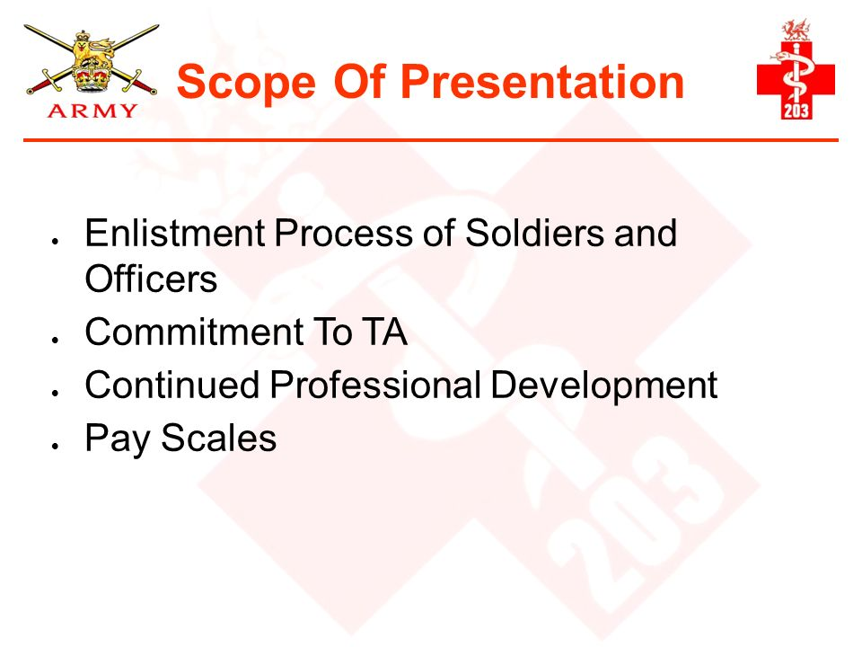 Scope Of Presentation Enlistment Process of Soldiers and Officers