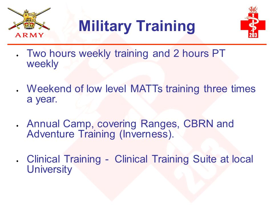 Military Training Two hours weekly training and 2 hours PT weekly
