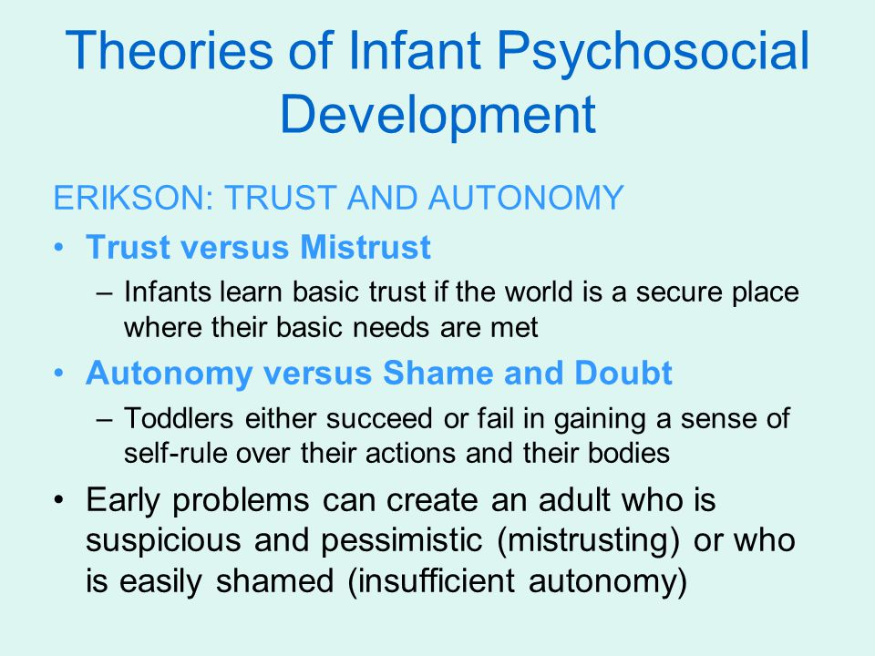 trust as an element of development of infants Babies need to be loved and nurtured from birth to create a trusting bond  it will  also help develop the baby's language comprehension and expression skills.