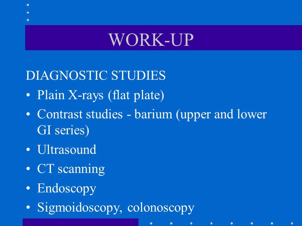 WORK-UP DIAGNOSTIC STUDIES Plain X-rays (flat plate)
