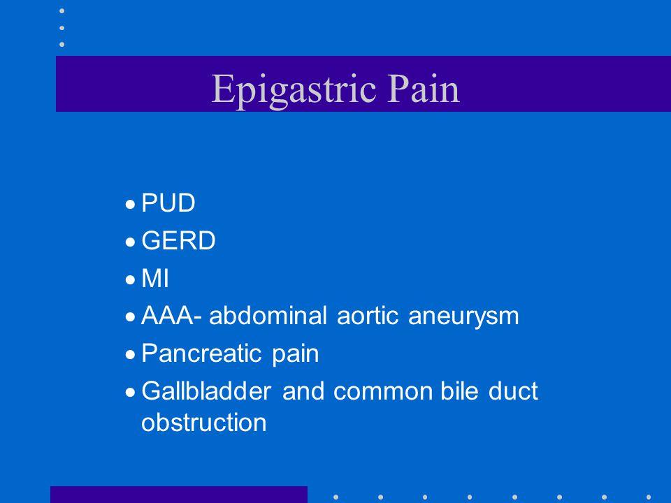 Epigastric Pain PUD GERD MI AAA- abdominal aortic aneurysm