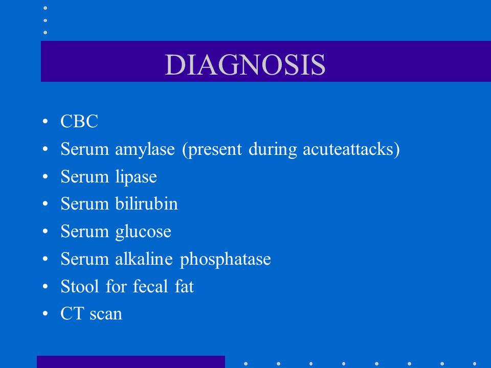 DIAGNOSIS CBC Serum amylase (present during acuteattacks) Serum lipase