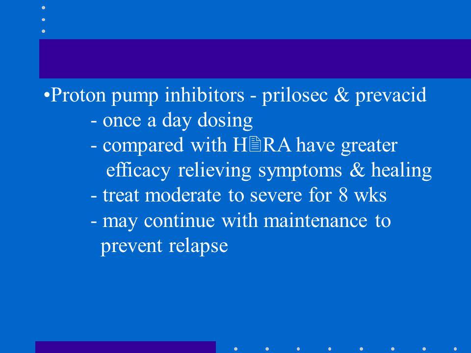 Proton pump inhibitors - prilosec & prevacid