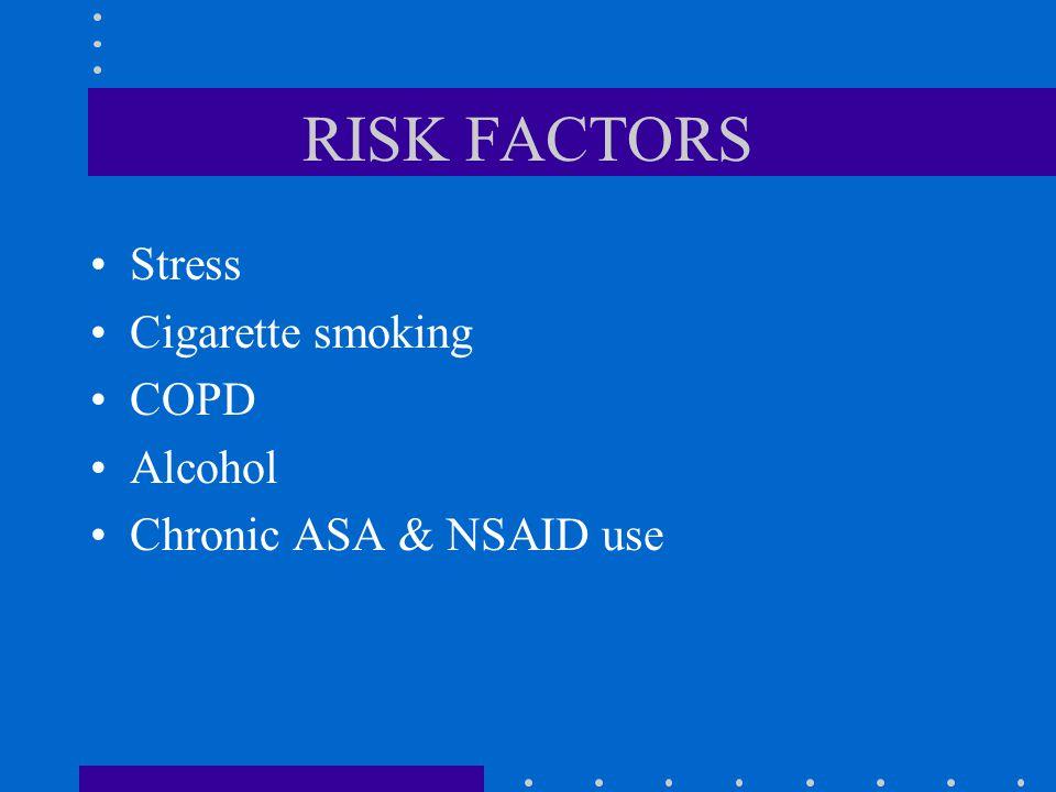 RISK FACTORS Stress Cigarette smoking COPD Alcohol