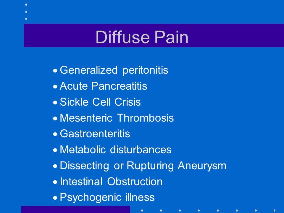 Diffuse Pain Generalized peritonitis Acute Pancreatitis