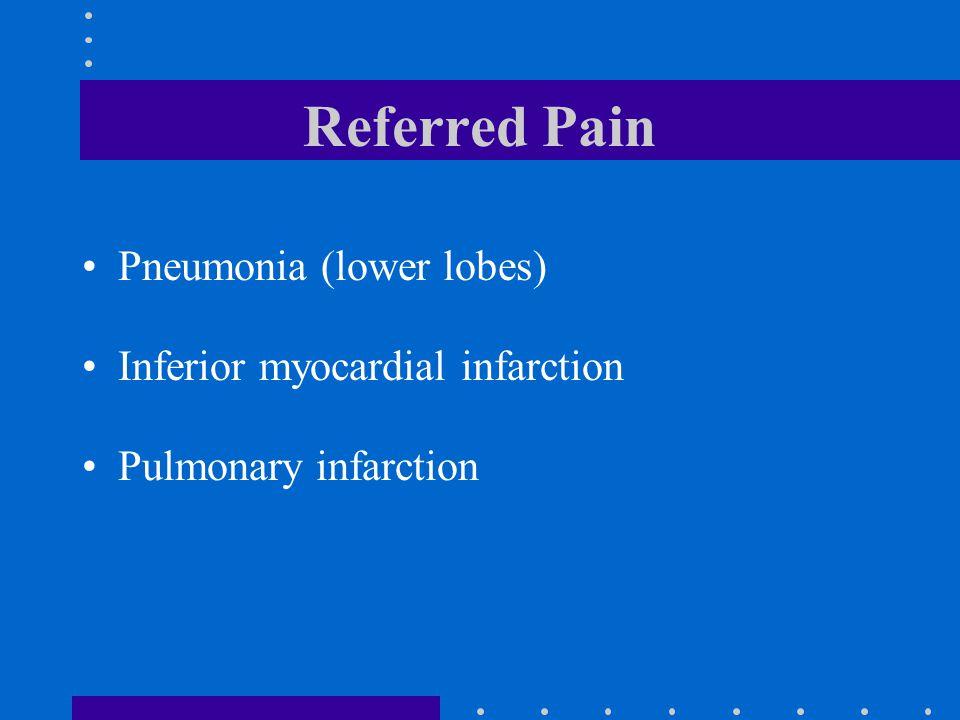 Referred Pain Pneumonia (lower lobes) Inferior myocardial infarction
