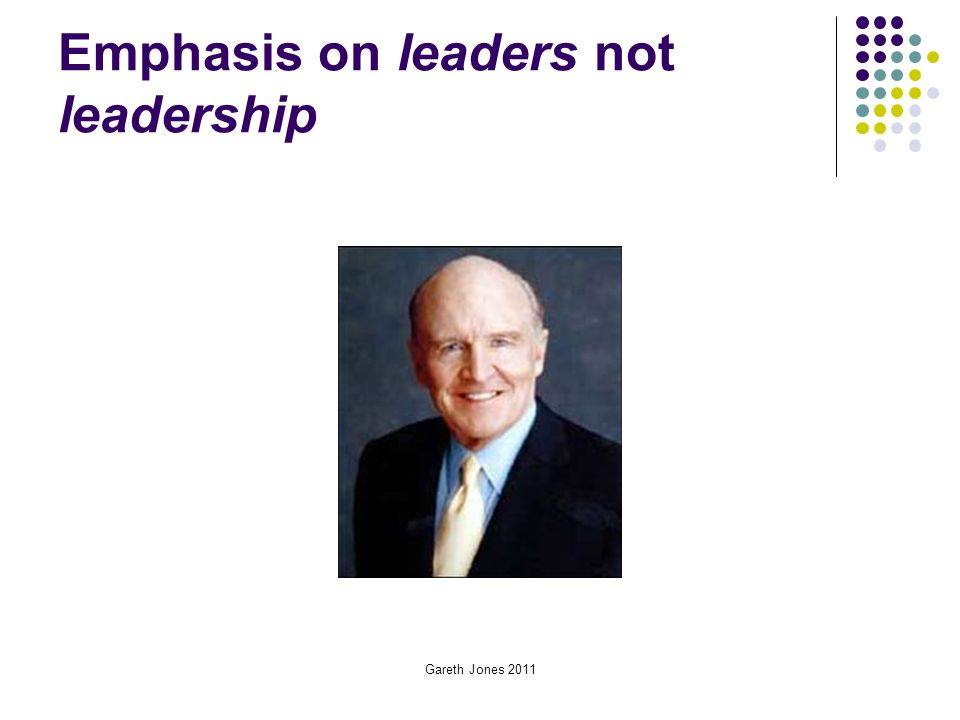 Emphasis on leaders not leadership