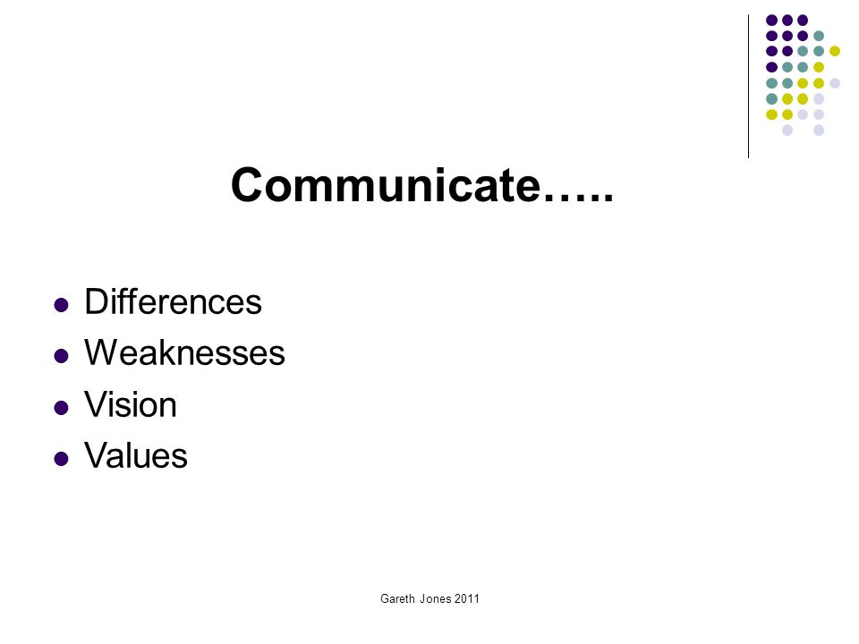 Communicate….. Differences Weaknesses Vision Values Gareth Jones 2011