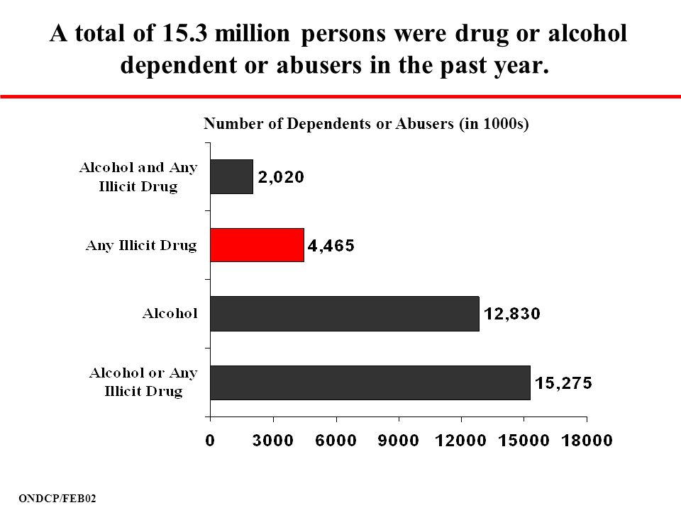 A total of 15.3 million persons were drug or alcohol dependent or abusers in the past year.