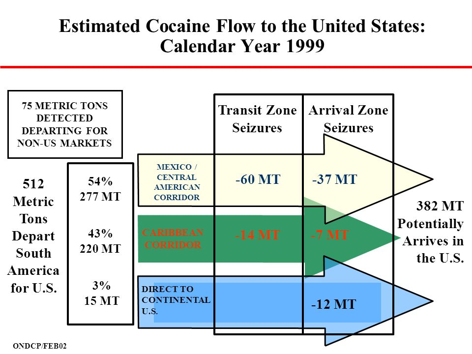 Estimated Cocaine Flow to the United States: Calendar Year 1999