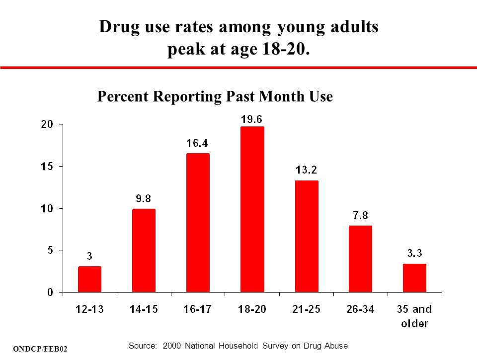 Drug use rates among young adults