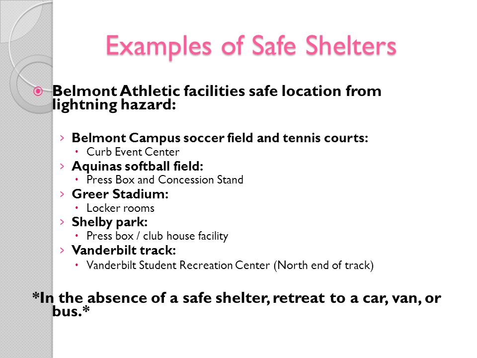 Examples of Safe Shelters