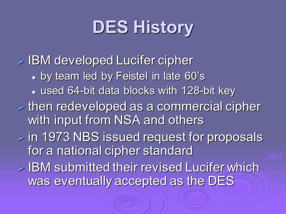 DES History IBM developed Lucifer cipher