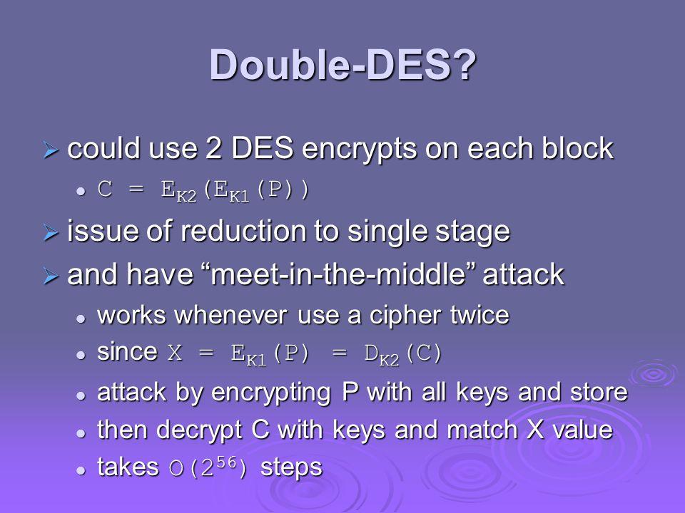 Double-DES could use 2 DES encrypts on each block