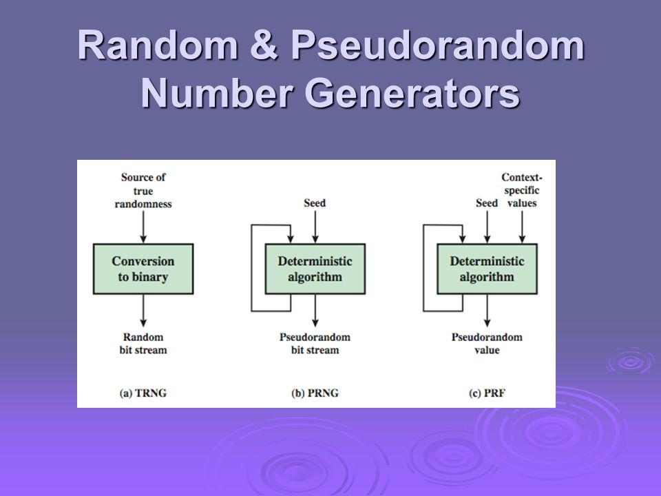 Random & Pseudorandom Number Generators