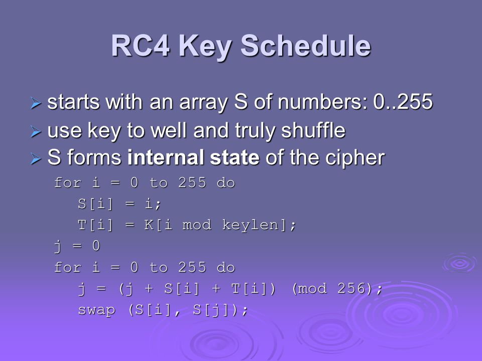 RC4 Key Schedule starts with an array S of numbers: 0..255