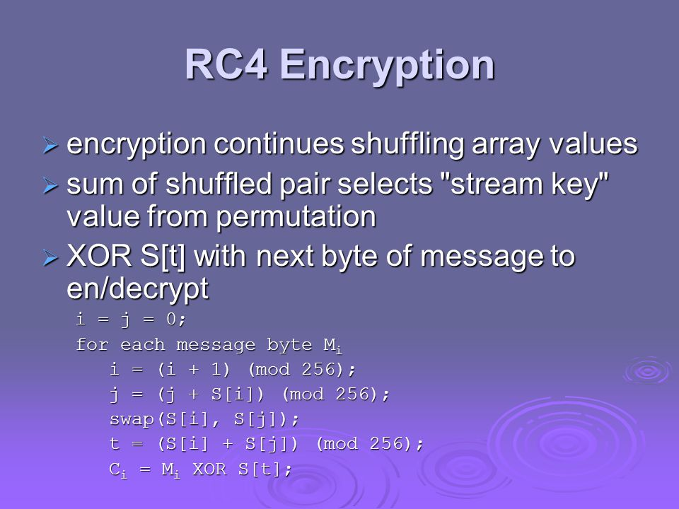 RC4 Encryption encryption continues shuffling array values