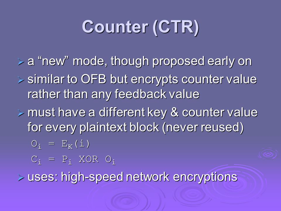 Counter (CTR) a new mode, though proposed early on