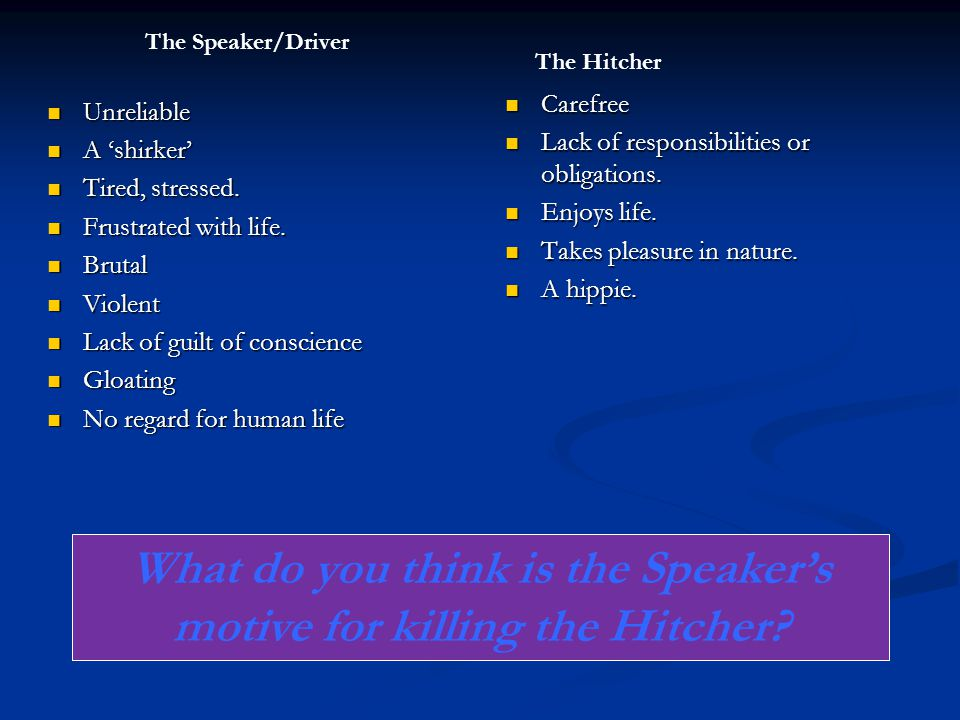 What do you think is the Speaker's motive for killing the Hitcher