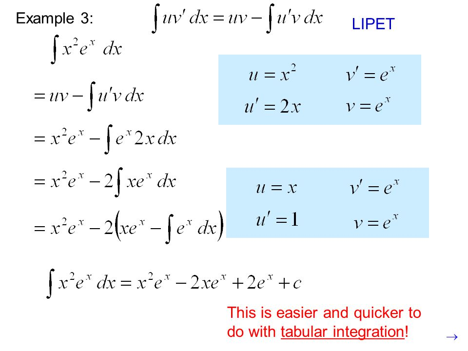 Example 3: LIPET. This is still a product, so we need to use integration by parts again.
