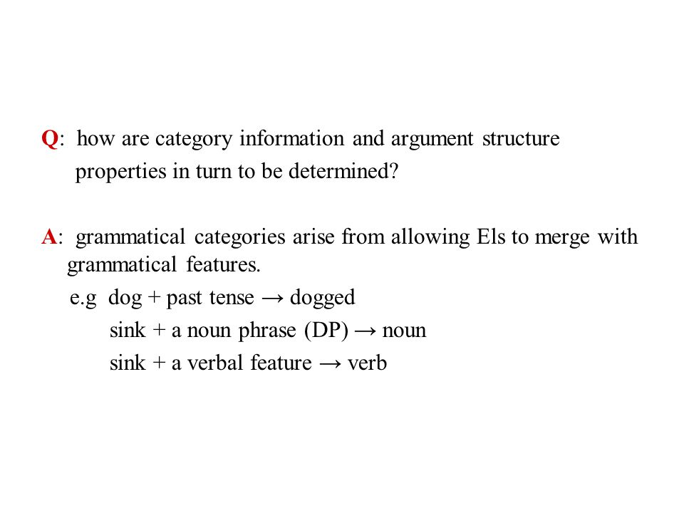 Q: how are category information and argument structure
