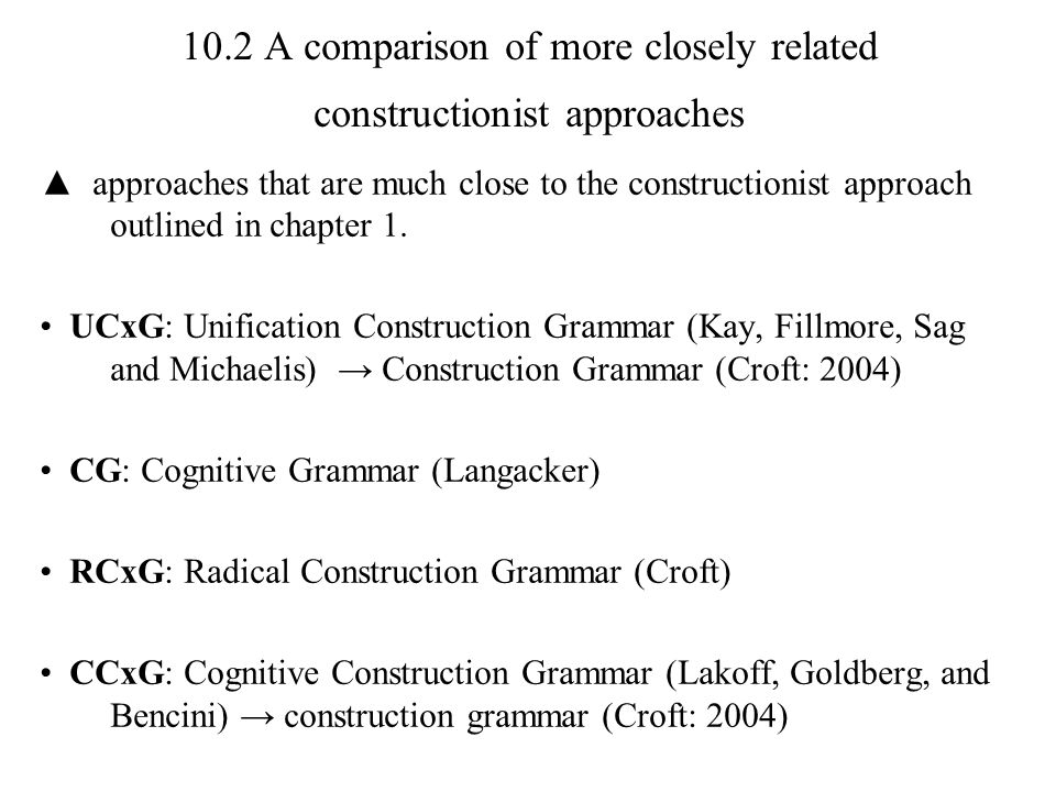 10.2 A comparison of more closely related constructionist approaches