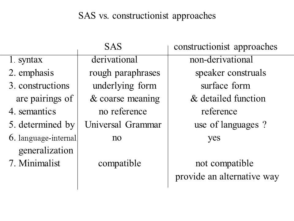 SAS vs. constructionist approaches