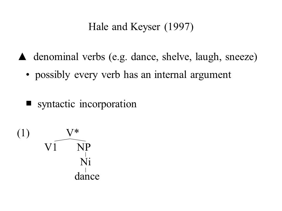 Hale and Keyser (1997) ▲ denominal verbs (e.g. dance, shelve, laugh, sneeze) • possibly every verb has an internal argument.