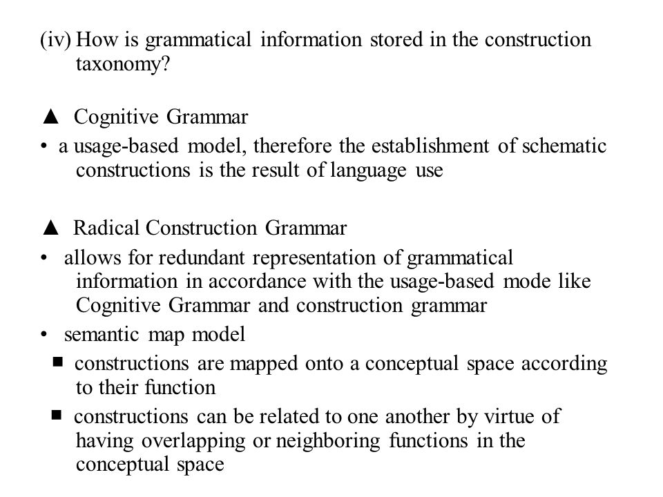 How is grammatical information stored in the construction taxonomy