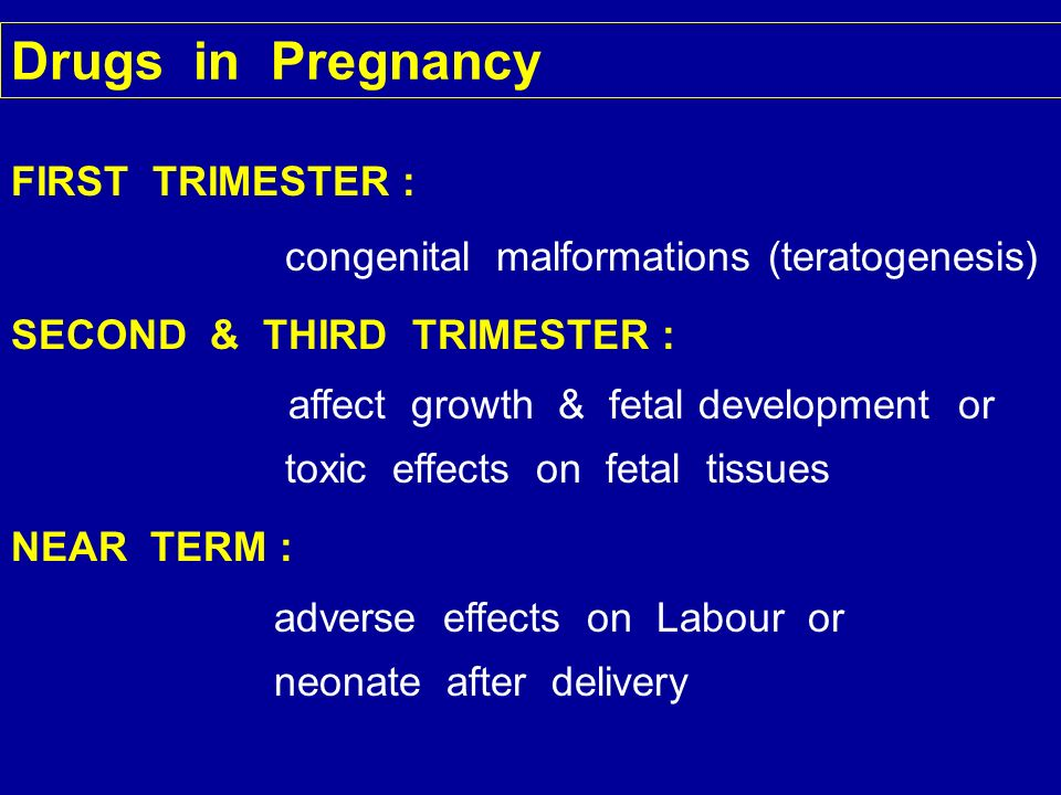 Drugs in Pregnancy FIRST TRIMESTER :